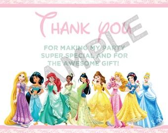 Disney Princess thank you card, Princess thank you card, Princess birthday thank you card, Princesses thank you card- Digital file