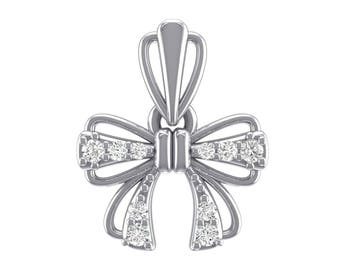 Bow Cubic Zirconia Pendant, Bow Pendant, Silver Pendant, Cubic Zirconia Pendant, Silver Jewelry, Sertling Silver, Gift For Her, Silver, Gift