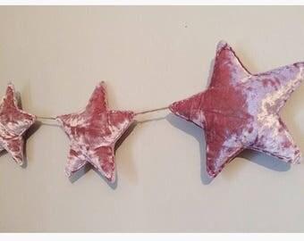 Pink Crushed Velvet Star Garland
