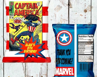 10 Custom Superhero Chip Bag - Favor Bag - Treat Bag - Candy Bag - Printed and Shipped -  Personalized