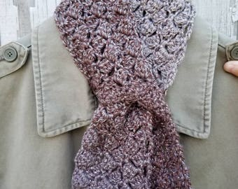 Shiny Neutral Scarf - Sparkling Sidesaddle Keyhole Scarflet in Woodsmoke Crochet