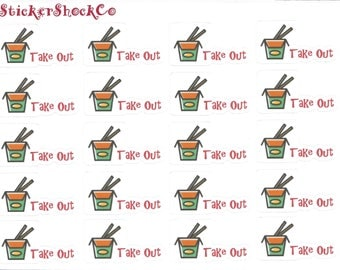 Chinese Takeout Stickers, Takeout Stickers, Food Planner Stickers, Planning Accessories