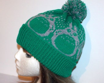 Emerald Green beanie hat with Totoro Inspired Character - with or without pompom option
