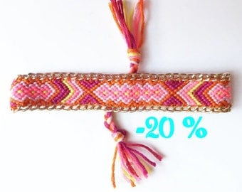 SUMMER SALE / / / multicolor Friendship Bracelet with gold chain