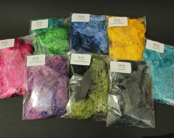 REDUCED PRICE! Silk Filly, 8-10 grams of beautiful silk, fabulous colours for use in textiles, paper-making, collage, embroidery, millinery