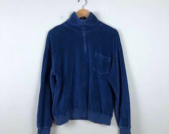 Vintage Navy Blue Velour Sweater Size Large, Velvet Sweater