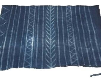 Large vintage Indigo african mudcloth fabric throw, no.291