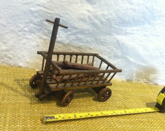 Vintage wood farm wagon accessoires dollhouse, miniatures