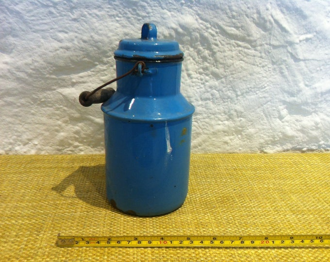Antique Milk Can Enamel blue Shabby Decorations Object