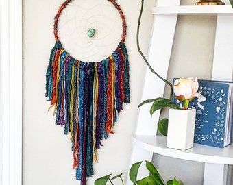dreamcatcher, dream catcher, nursery baby dreamcatcher, personalized gift, large colorful bohemian purple green blue red orange dreamcatcher