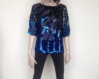 Black and Electric Blue Sequin/ Beaded Top by Iris with sheer panels - Oh la la