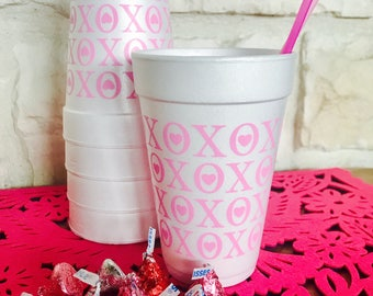 Valentine Cups, Party, Styrofoam, Cocktail, Beverage, Holiday, Valentines  Day,