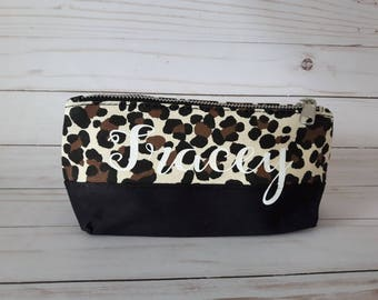 personalized leopard print cosmetic bag