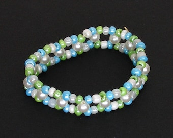 Green Blue and White Double Stranded Elastic Beaded Bracelet