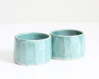 mini turquoise carved candle holders, duo, shiny, handmade, ceramic, pottery, stoneware, wheel thrown, glazed