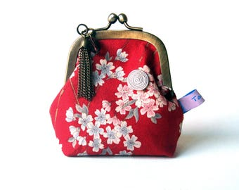 Porte monnaie rétro porte monnaie pour femme Tissu japonais Aya rouge