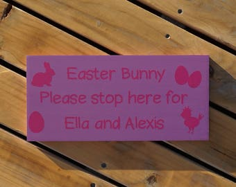 Personalised Easter Bunny Please Stop Here wooden sign