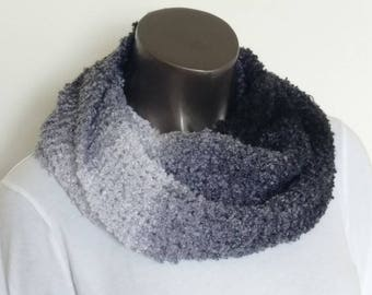 Classy Black & White Soft Boucle Hand Knit Infinity Scarf