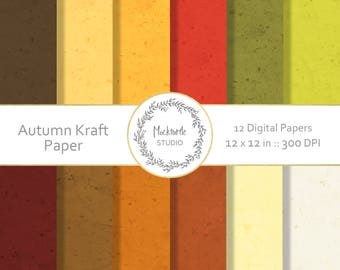 Autumn Kraft Paper digital paper - Autumn clipart - Scrapbook paper, Fall Kraft Paper Digital Paper, Autumn Digital Paper, Commercial use