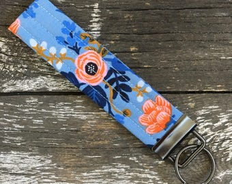 Rosa Floral Key Fob/Key Chain/Fabric Key Fob/Key Ring/Luggage Tag/Stocking Stuffer/New Driver Gift/Bag Tag/Keyring/Wristlet