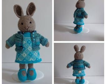 Turquoise Knitted Girl Rabbit