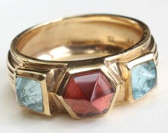 14k Gold Ring Garnet January Birthstone Birthday Aquamarine Gift for Her