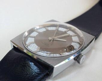 Vintage Retro 1960's Alpha Incabloc Watch Wind Up Simple Calendar Mint Original Band Silver Blue Brown