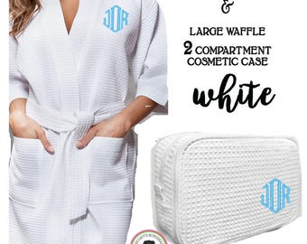 Monogrammed Ladies' Waffle Weave Robe & Deluxe Waffle Cosmetic Case- White -FREE SHIP