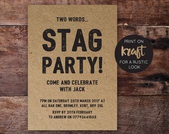 Printable Stag Party Invite   Stag Party Invitation   Stag Party   Bachelor Party   PDF   Download   Custom   Rustic   Jack Suite #046