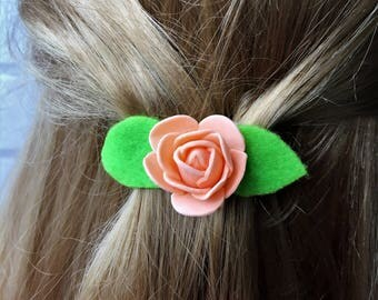Childs hair clips.Rose hair clips,Orange flower clips,White flower clips,Bridesmaid hair clips,Flower girl hair clips,Girls hair clips,