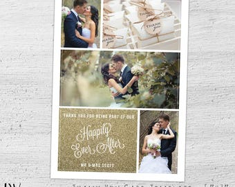 Wedding Thank You Template, Photo Card Template, Wedding Thank You Cards Photo, Photoshop, Photographer, Wedding Thank You Notes - 04-005-PV