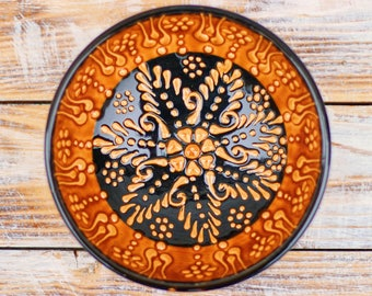 Bowl, yellow bowl, orange bowl, yellow plate, decorative bowl, ceramics, brown plate, handmade bowl, small bowl, pottery, handmade pottery