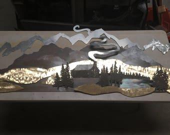mountain scene mural