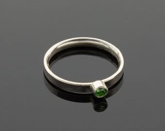Handmade Silver Stacking Ring with Green Cubic Zirconia