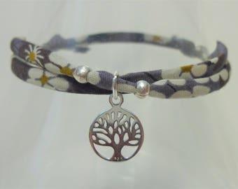 Yoga bracelet, tree of life, mindfulness, Liberty fabric, yoga jewellery, namaste, gift for her