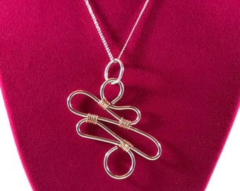 Sterling silver and copper freeform wire wrapped necklace Sterling silver pendant Mixed metals necklace