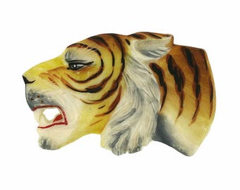 1930s Hand-Painted Celluloid Vintage Tiger Brooch