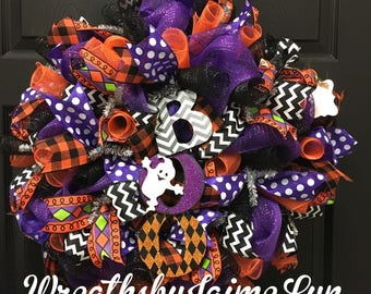 Halloween wreath, Halloween wreaths, Halloween decor, Ghost wreath, Boo wreath, ghost wreaths, fall decor, front door wreath, Halloween