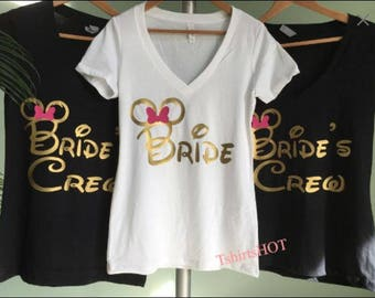 Disney bachelorette Shirts, Disney bachelorette party shirts, Disney Wedding, Disney bride, Disney Minnie Mouse Ears Bride Bridesmaid Shirt