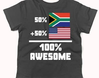 50 Percent South African 50 Percent American 100% Awesome Funny Flag Infant / Toddler T-Shirt