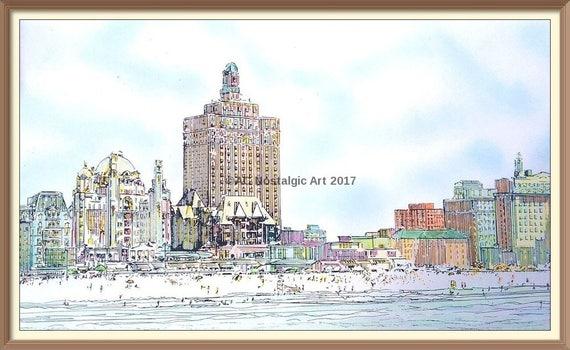 Panorama of Atlantic City Boardwalk 1930s