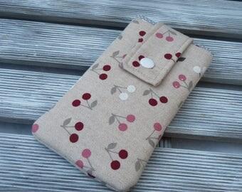 Cell phone sleeve Linen Cherries, Padded phone  Pouch, Fabric phone case cherries, Cell phone cover, gift for her, girl birthday gift