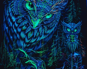 Psychedelic Sacred Art Nature UV Fluorescent Glow Print Fabric Backdrop Banner Trippy Tapestry Owl