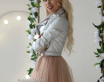 """Tulle skirt with matching lining, fixed waistband with hidden zipper  """"sun-shaped"""" (color - nude)"""