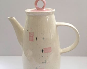 Vernonware Tickled Pink Coffee or Tea Pot  // Atomic Patterned Stoneware Beverage Serving  // 1950's