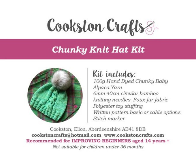 Knit Kit - Chunky Baby Alpaca Beanie Hat Kit designed and produced in Scotland, includes faux fur pom pom, circular needles
