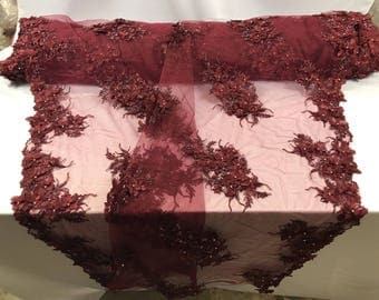 Beaded Embroidery Lace Fabric Diamonds 3D Flower Burgundy Mesh Dress Wedding Decoration Bridal Veil By The Yard
