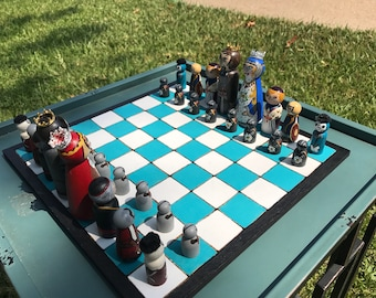 Hand-painted War of the Roses Chess Set