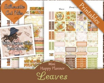 Leaves~Mini Happy Planner Printable Stickers Fall Weekly Kit For The Mini MAMBI Happy Planner with Free Silhouette Cut Files