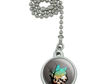 Wolf Mountain Optical Illusion Ceiling Fan and Light Pull Chain